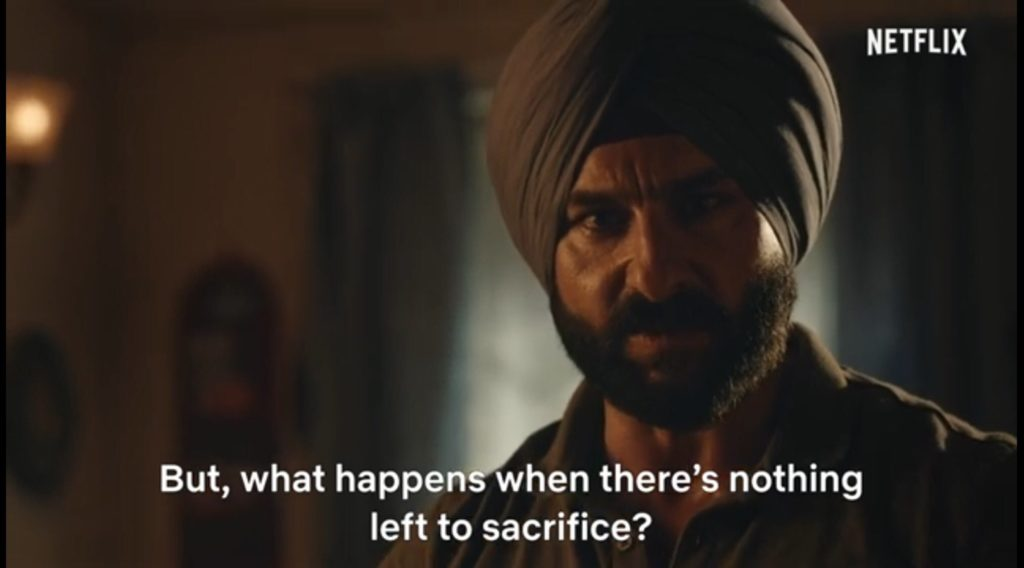 Saif Ali Khan as Sartaj Singh in Sacred Games Season 2 dialogue and meme template but what happens when theres nothing left to sacrifice