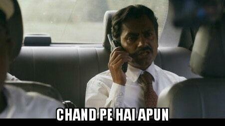 Nawazuddin Siddiqui as Ganesh Gaitonde in Sacred Games Season 2 dialogue and meme template chand pe hai apun