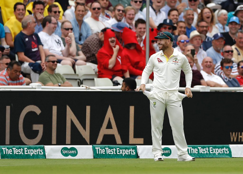 ashes 2019 england vs australia david warner holding out his empty palms showing empty pockets