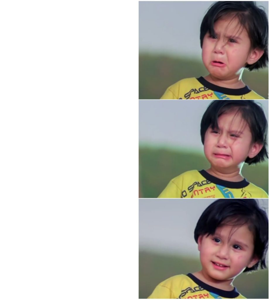 dhamaal small girl crying then smiling meme template