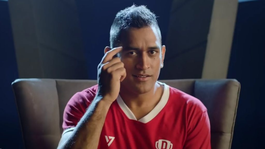khelo dimaag se dhoni pointing at his head brain dhoni dream 11 advertisement