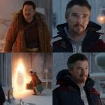 Doctor strange wink to spider man in the no way home movie meme template