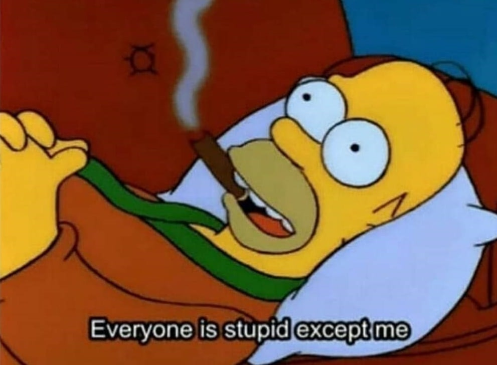 everyone is stupid except me Homer Simpsons meme template