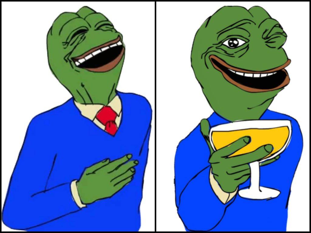 gentleman pepe drinking wine meme template