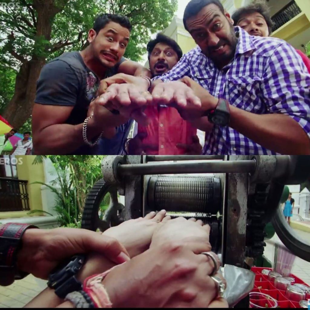 golmaal 3 gopal forcing madhav's hand into the sugarcane machine Ajay Devgn Arshad Warsi meme template