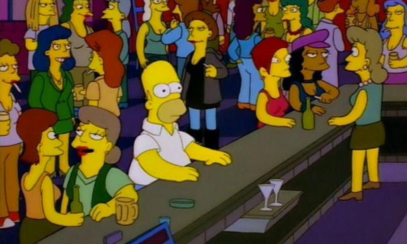 homer simpson alone in a bar