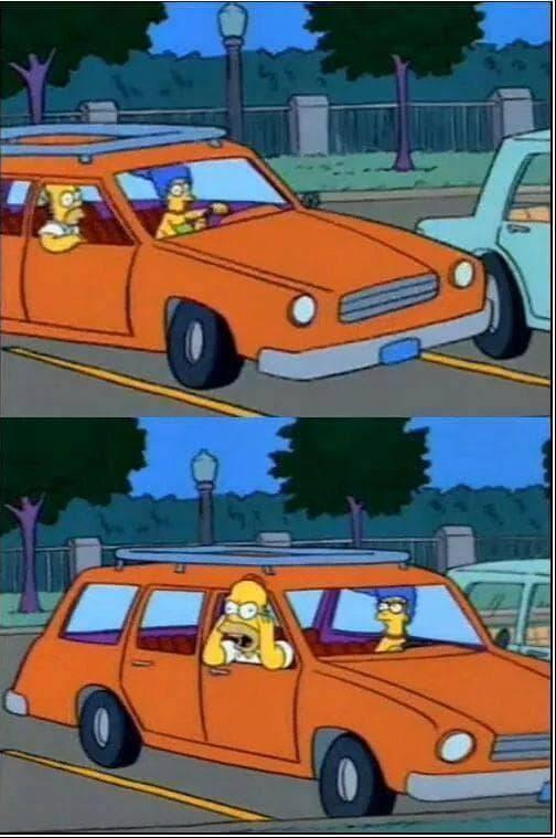 simpsons memes homer simpsons on car shouting