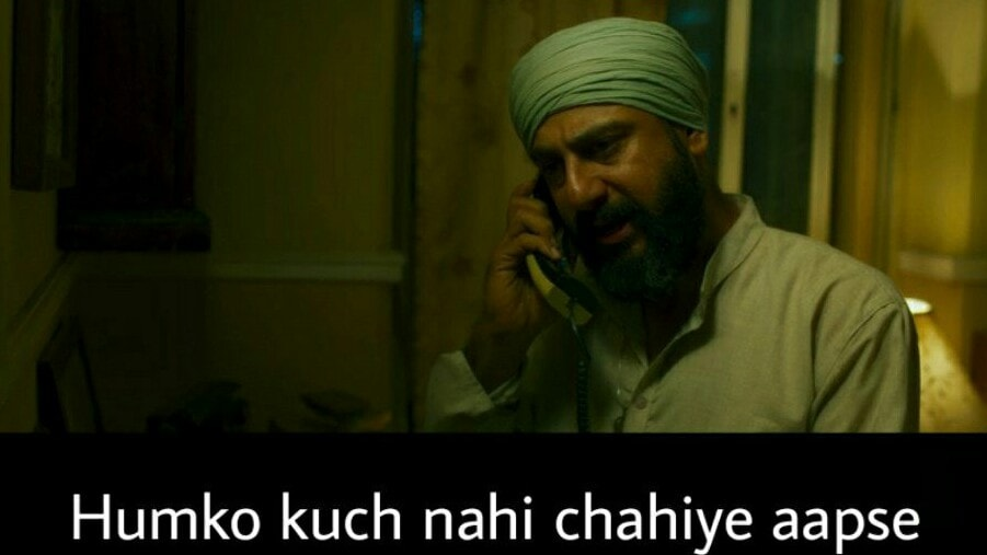 Saif Ali Khan as Sartaj Singh in Sacred Games Season 2 dialogue and meme template humko kuch nahi chahiye aapse