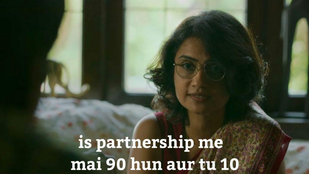 Surveen Chawla as Jojo Mascarenhas in Sacred Games Season 2 dialogue and meme template is partnership memai 90 hun aur tu 10