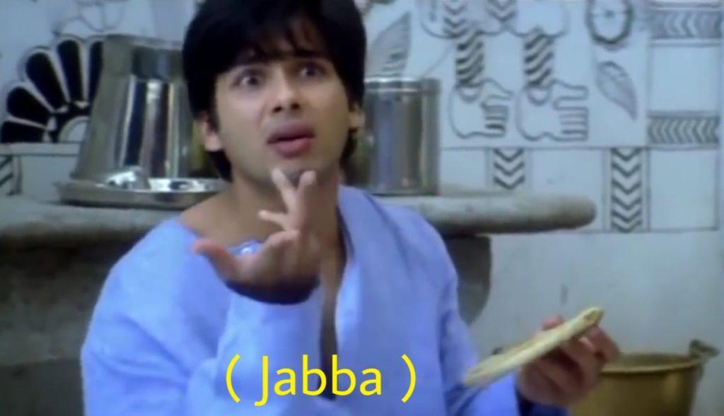 Jabba shahid kapoor in chup chup ke as a dumb meme