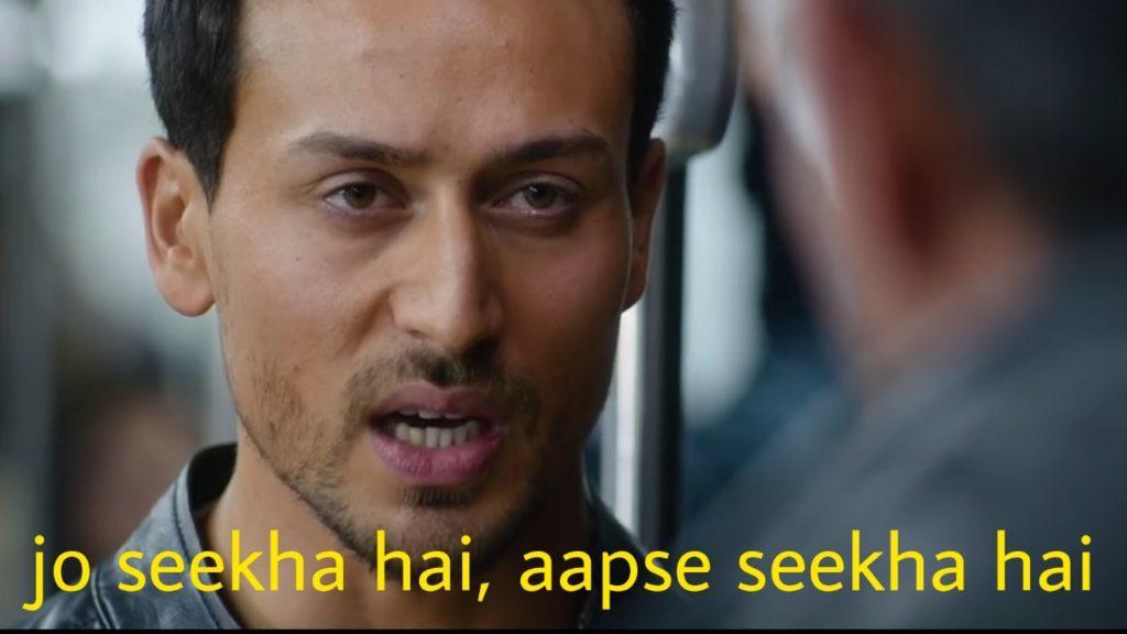 jo seekha hai aapse seekha hai Tiger Shroff dialogues and meme templates from the war movie