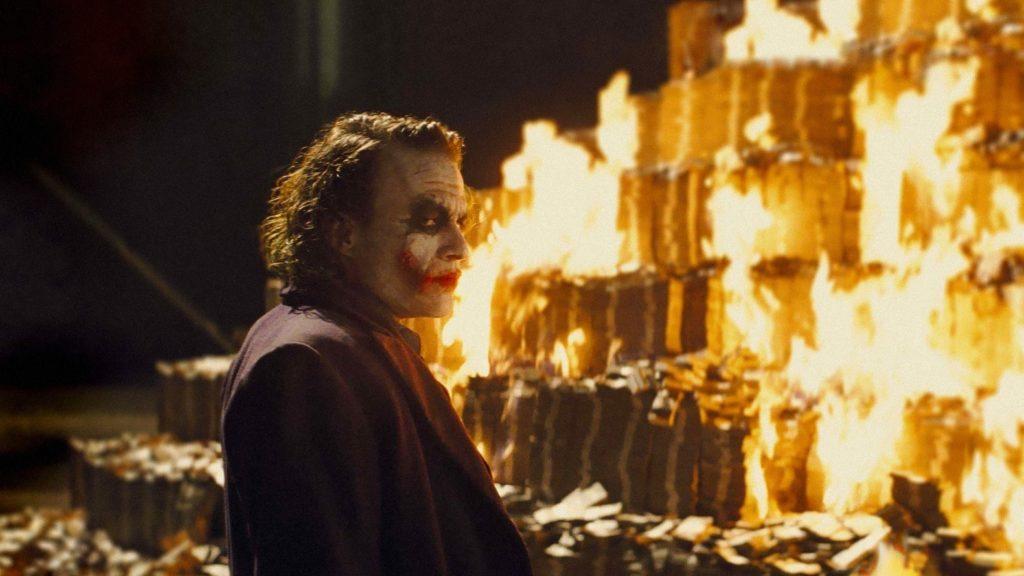 joker burning money meme the dark knight heath ledger