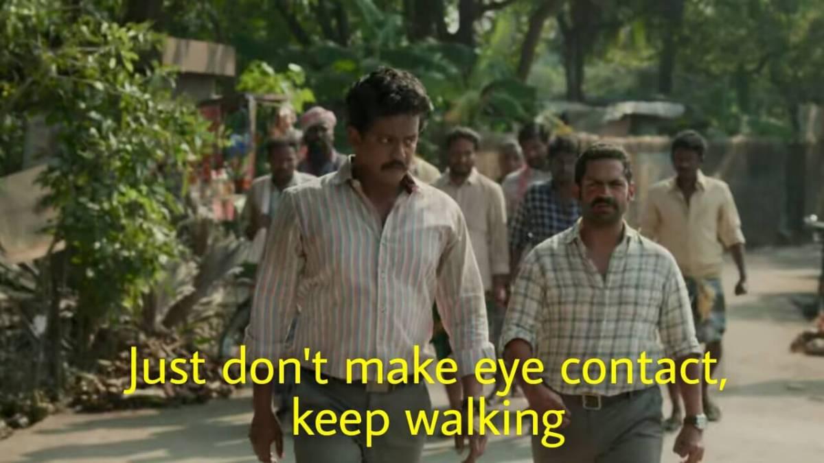 Just don't make eye contact keep walking family man meme template