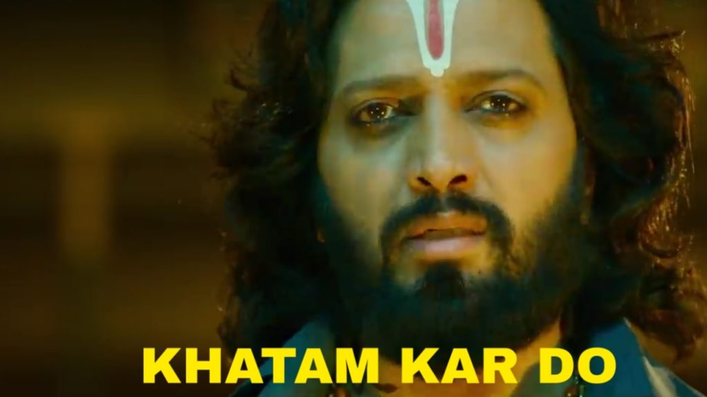 Riteish Deshmukh in the movie Marjaavaan dialogue meme khatam kar do