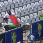 kl rahul opening and looking at a dustbin in India vs England county cricket match