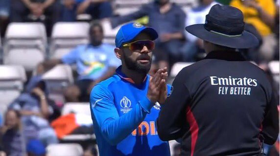 Kohli requesting The Umpire with folded hands namaste in the cricket world cup meme