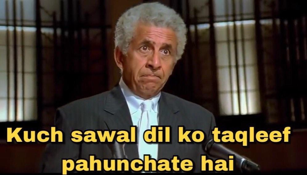 Kuch sawal dil ko taqleef pahunchate hai Naseeruddin Shah meme template and dialogue