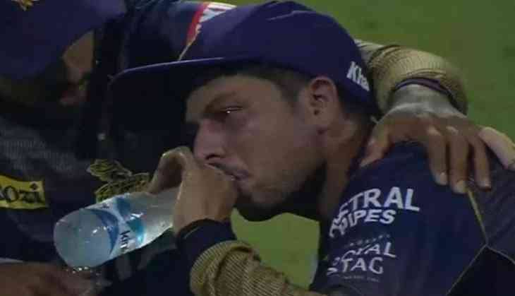Kuldeep Yadav crying and drinking water after consuming runs against RCB in IPL 2019 funny meme