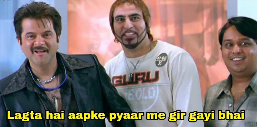 Lagta hai aapke pyaar me gir gayi bhai welcome movie dialogue meme