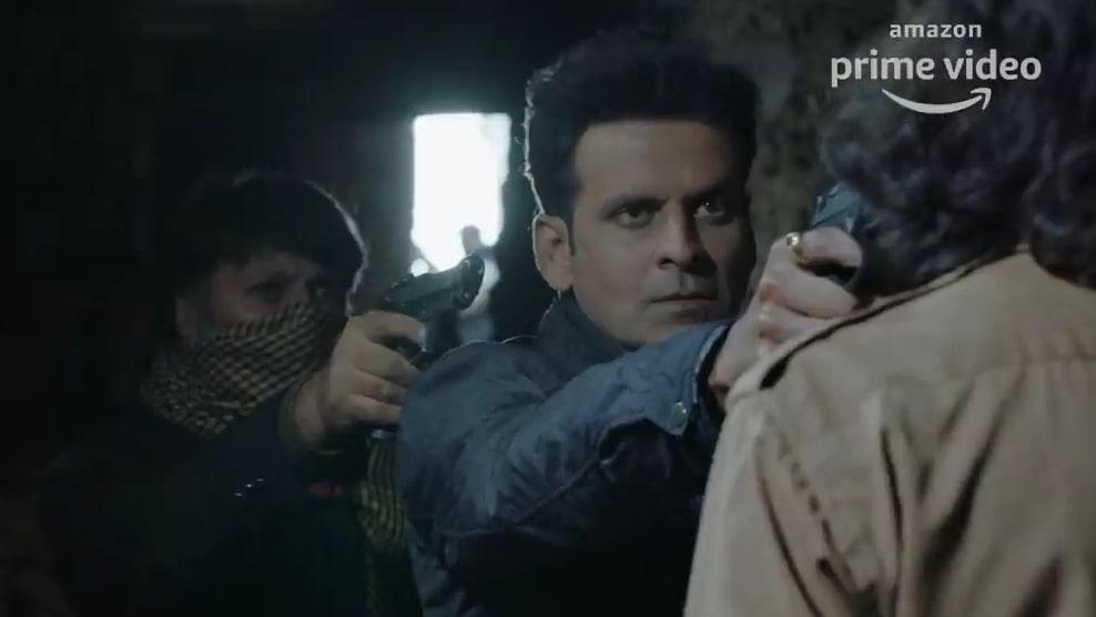 manoj bajpayee in Amazon prime web series the family man trailer pointing a gunmeme