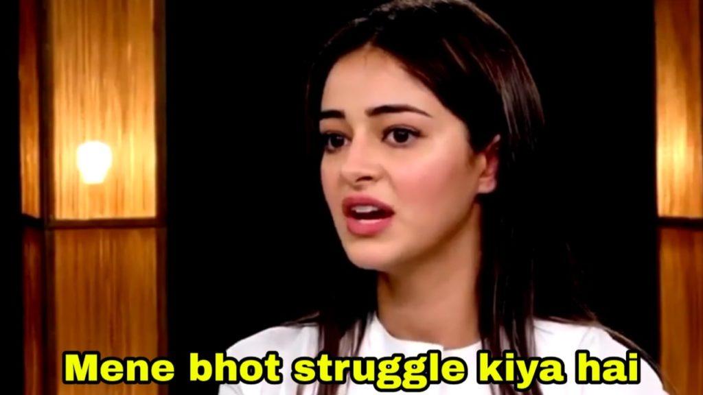 mene bhot struggle kiya hai Ananya Pandey in Rajeev Masand Newcomers Roundtable meme