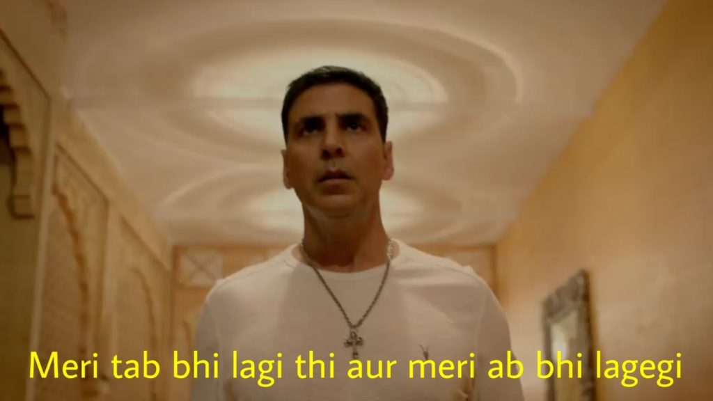 akshay kumar as Rajkumar Bala and Harry in housefull 4 movie dialogue and meme meri tab bhi lagi thi aur meri ab bhi lagegi