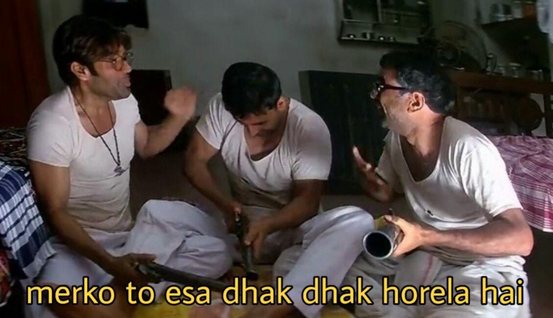 Image result for mere ko aisa dhak dhak ho rela hai hera pheri meme