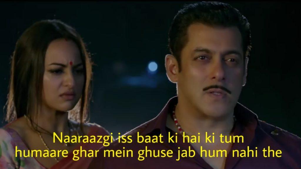 salman khan as chulbul pandey in dabangg 3 dialogue naaraazgi iss baat ki hai ki tum humaare ghar mein ghuse jab hum nahi the