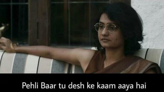 Surveen Chawla as Jojo Mascarenhas in Sacred Games Season 2 dialogue and meme template pehli baar tu desh ke kaam aaya hai