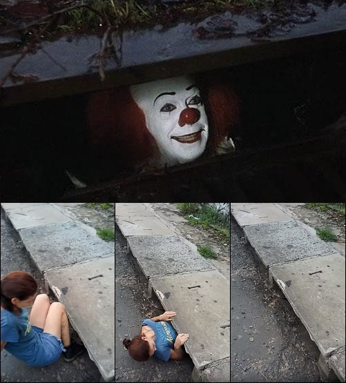 Pennywise In Sewer meme template