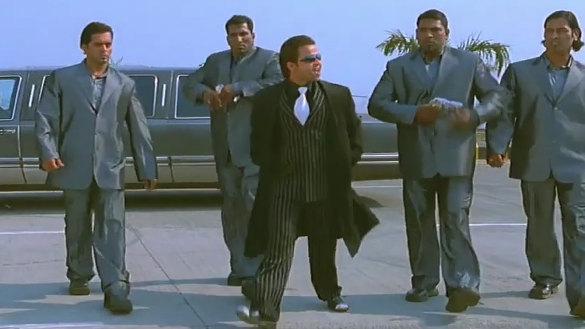 rajpal yadav as chota don in the movie partner going out with four bodyguards meme