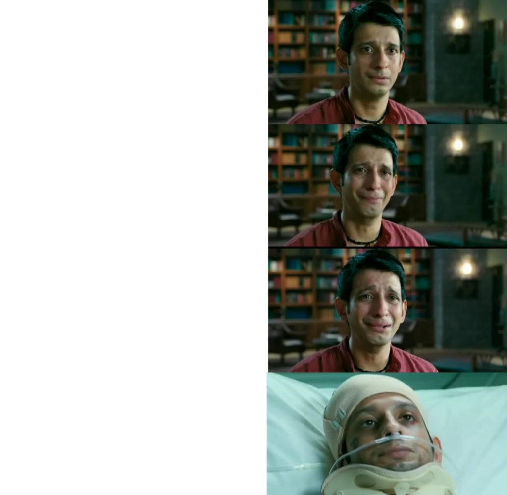 raju crying at virus's office and going to coma blank meme template 3 idiots