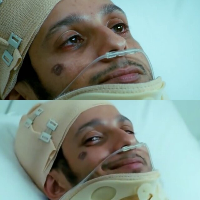 raju smiling from hospital bed meme template