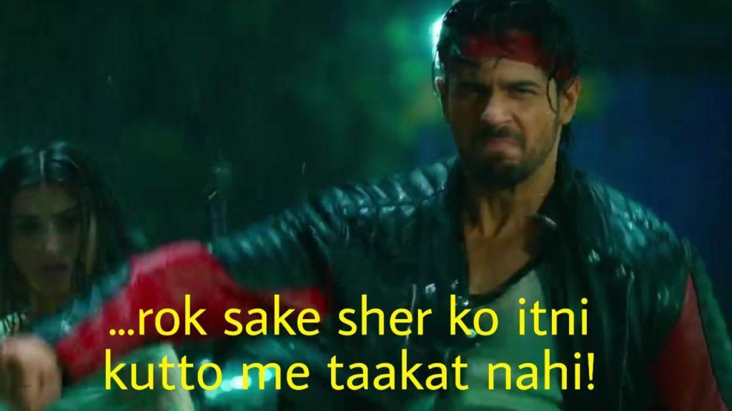 Sidharth Malhotra in the movie Marjaavaan dialogue and meme rok sake sher ko itni kutto me taakat nahi