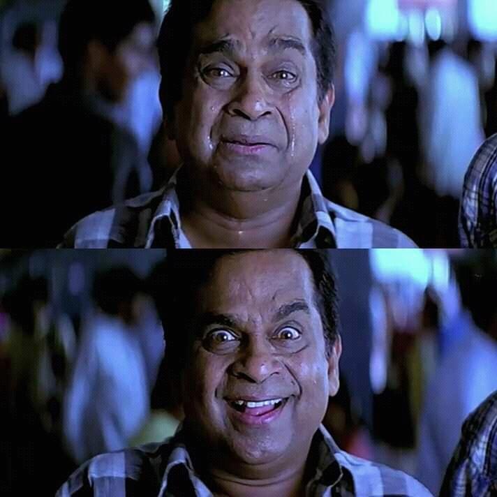 Sad and Happy Brahmanandam in Vikramarkudu movie meme template