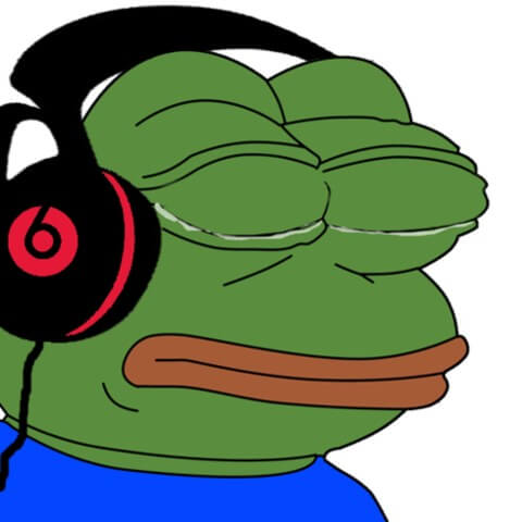 Sad pepe listening to music meme template