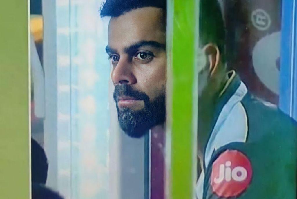 Sad virat kohli sitting in the dressing room