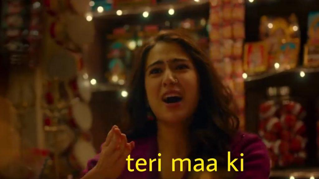 Teri maa ki sara ali khan kedarnath movie meme