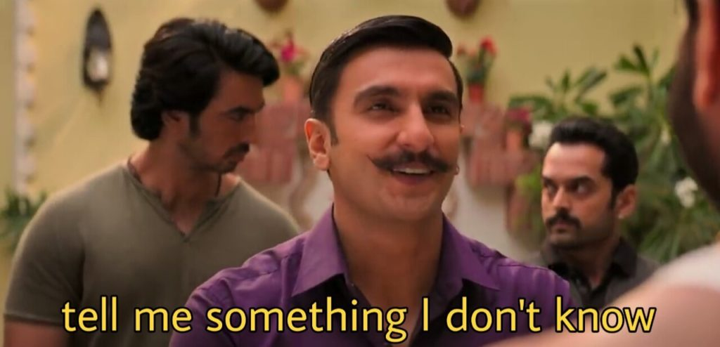 Ranveer Singh in the movie simba tell me something i don't know