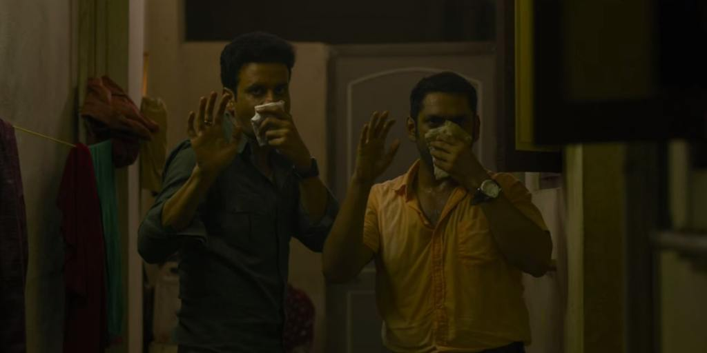 Srikant And JK covering their noses with handkerchief in the family man