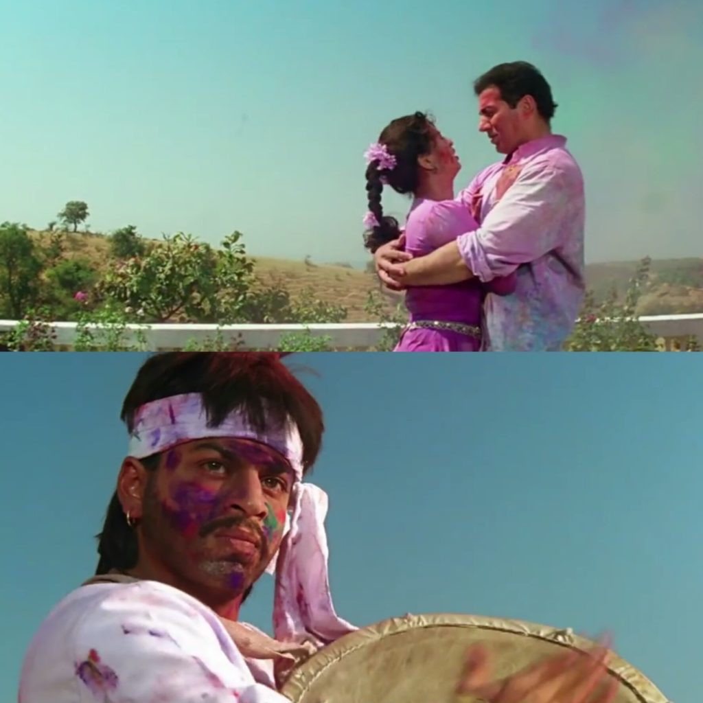 Shahrukh Khan getting angry after seeing Sunny Deol hugging Juhi Chawla in the darr movie holi song meme template