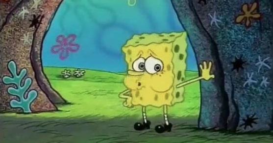 Tired Spongebob standing meme template