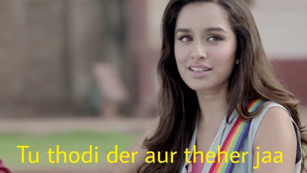 Shraddha Kapoor in the movie half girlfriend singing the song tu thodi der aur theher jaa