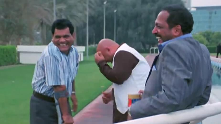 Nana Patekar as Uday shetty and Ballu laughing at Majnu in welcome movie meme