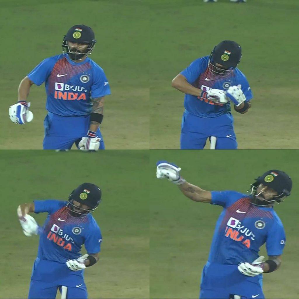 Virat Kohli notebook celebration india vs west indies t 20 match