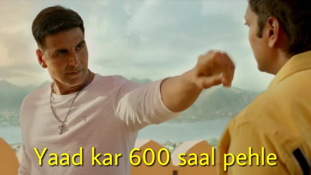 akshay kumar as Rajkumar Bala and Harry in housefull 4 movie dialogue and meme yaad kar 600 saal pehle