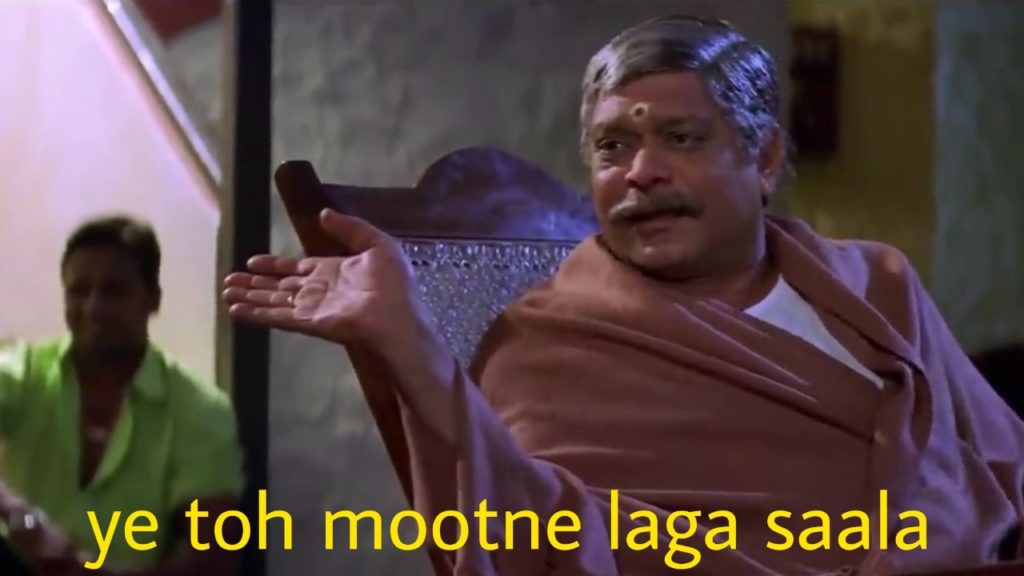 Mohan Joshi as Sadhu Yadav in the movie Gangaajal dialogue and meme template ye toh mootne laga saala