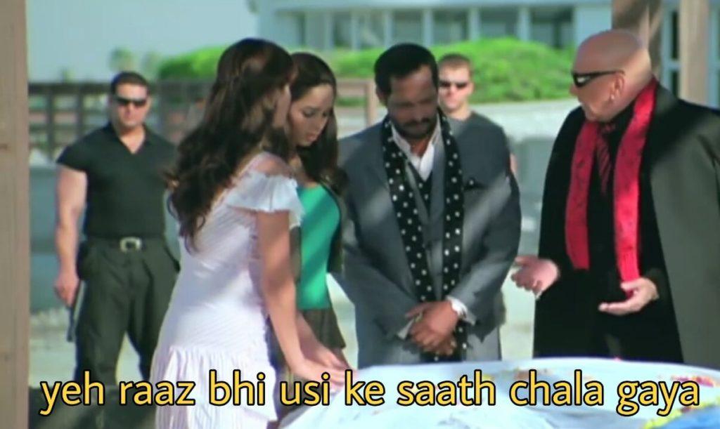 Yeh raaz bhi usi ke saath chala gaya welcome Nana Patekar dialogue meme