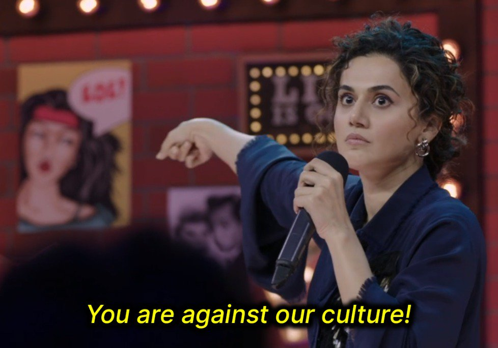 you are against our culture Taapsee Pannu one mic stand amazon prime standup comedy meme